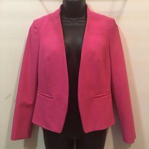 LOFT bright pink 6 petite blazer with ruffle